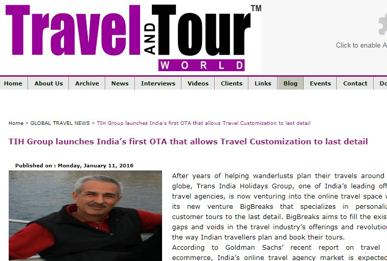 Big Breaks Coverage in Travel & Tour