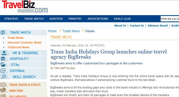 Big Breaks Coverage in Travel Biz
