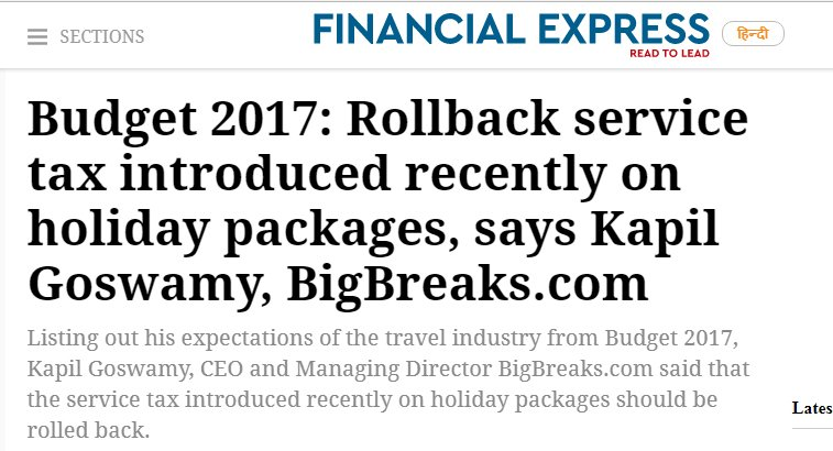 Big Breaks Coverage in Financial Express