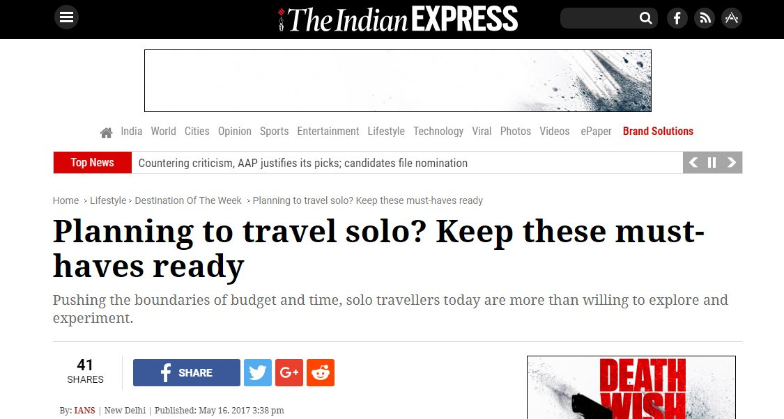 Big Breaks Coverage in Indian Express