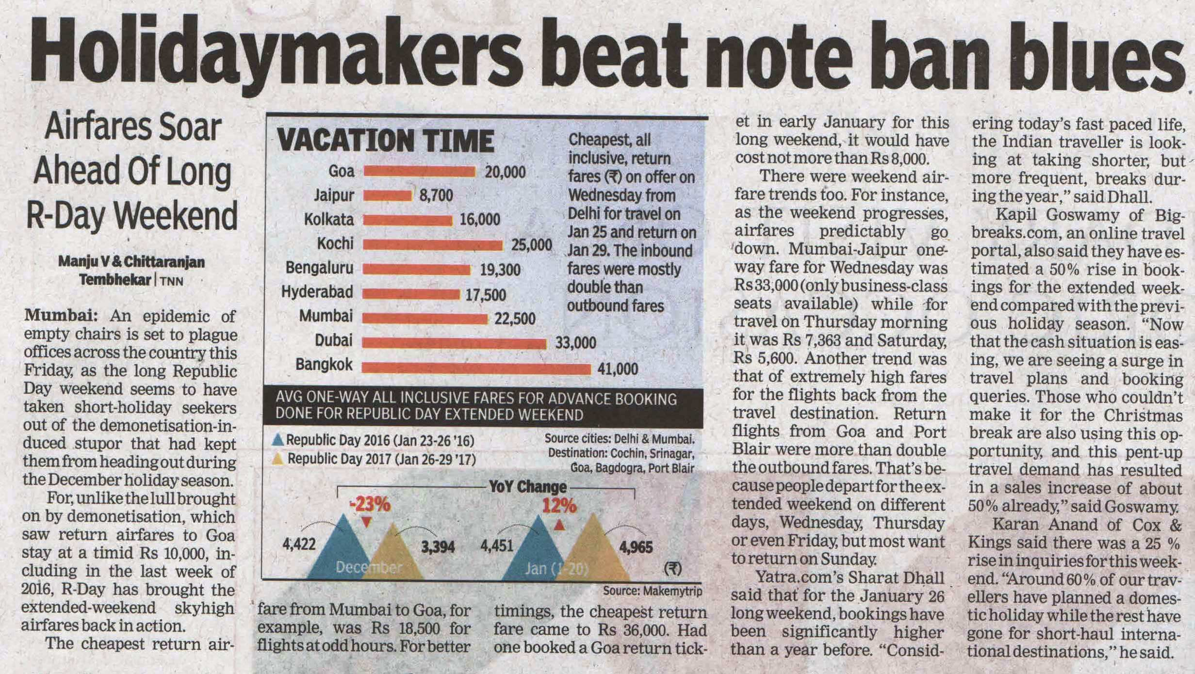 Big Breaks print coverage in Times of India