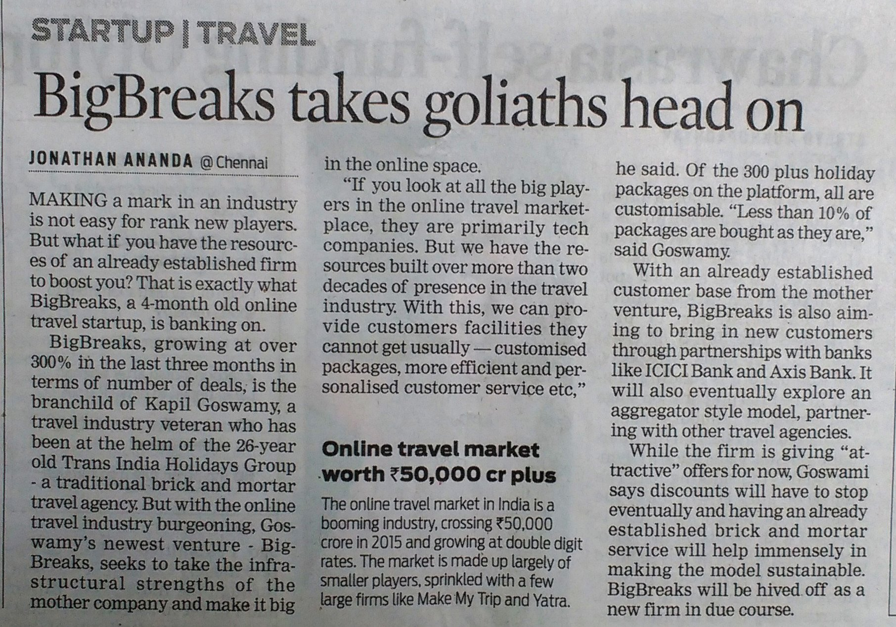 Big Breaks print coverage in Indian Express