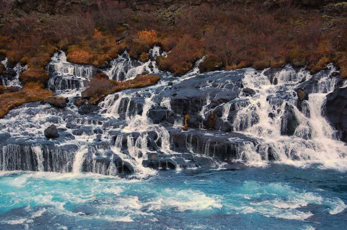 Borgarnes - Hraunfossar and Barnafoss waterfalls