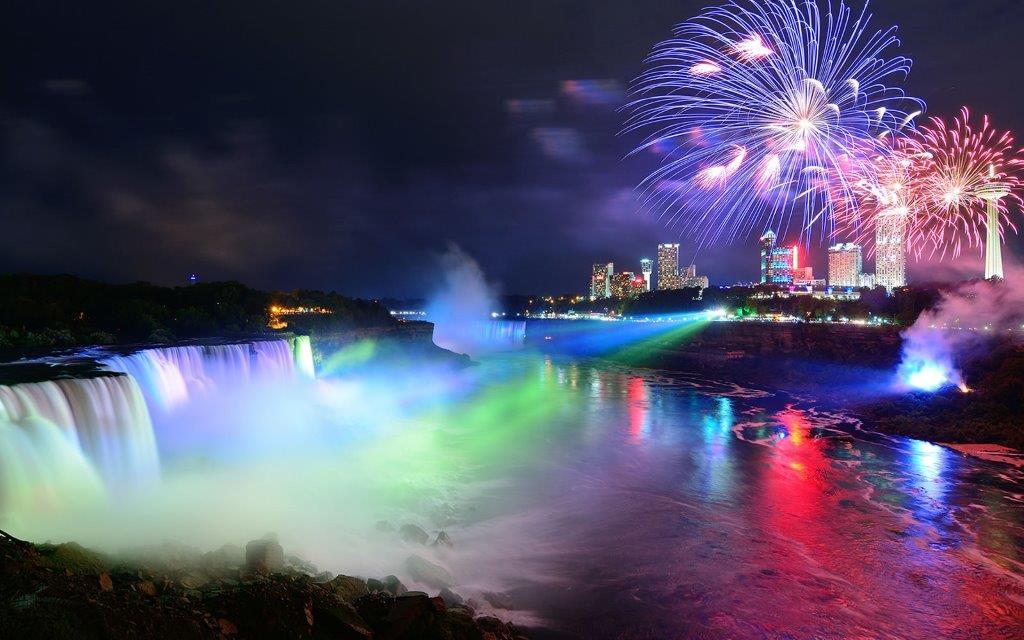 Illumination of falls at night - Niagara Falls